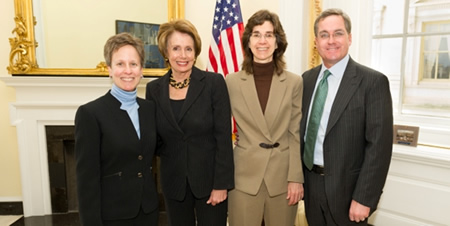 After attending the discriminatory Defense of Marriage Act case at the Supreme Court, Congresswoman Pelosi meets with Karen Golinski, her wife Amy Cunninghis, plaintiffs in their own case against DOMA, and San Francisco City Attorney Dennis Herrera - a ch