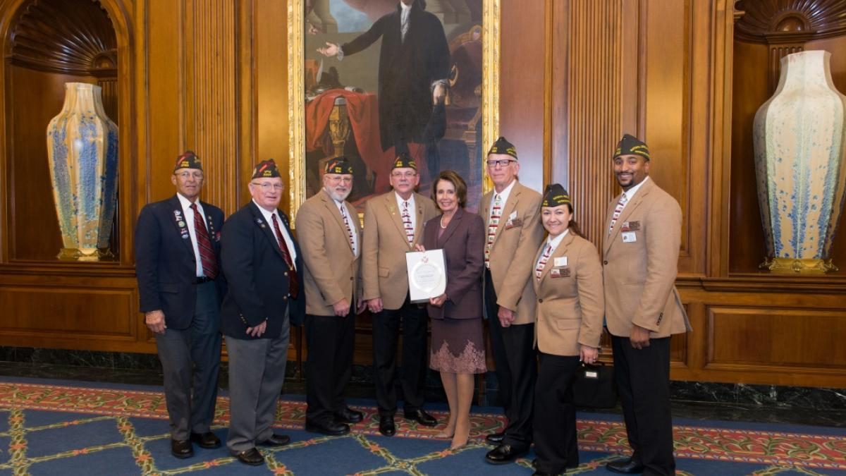 Congresswoman Pelosi receives an award from the Veterans of Foreign Wars California Delegation during their Annual Legislative conference to highlight support for our nation's men and women in uniform.