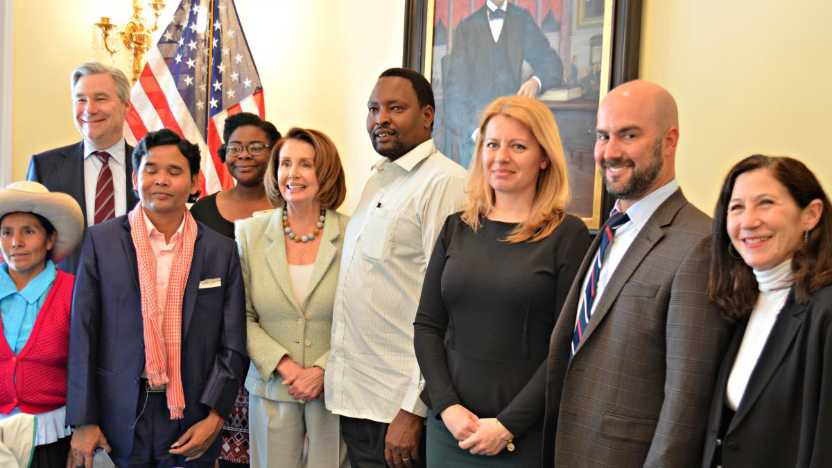 Congresswoman Nancy Pelosi meets with this year's Goldman Environmental Prize recipients – six individuals who have made a profound impact in their communities and throughout the world by fighting for environmental justice.