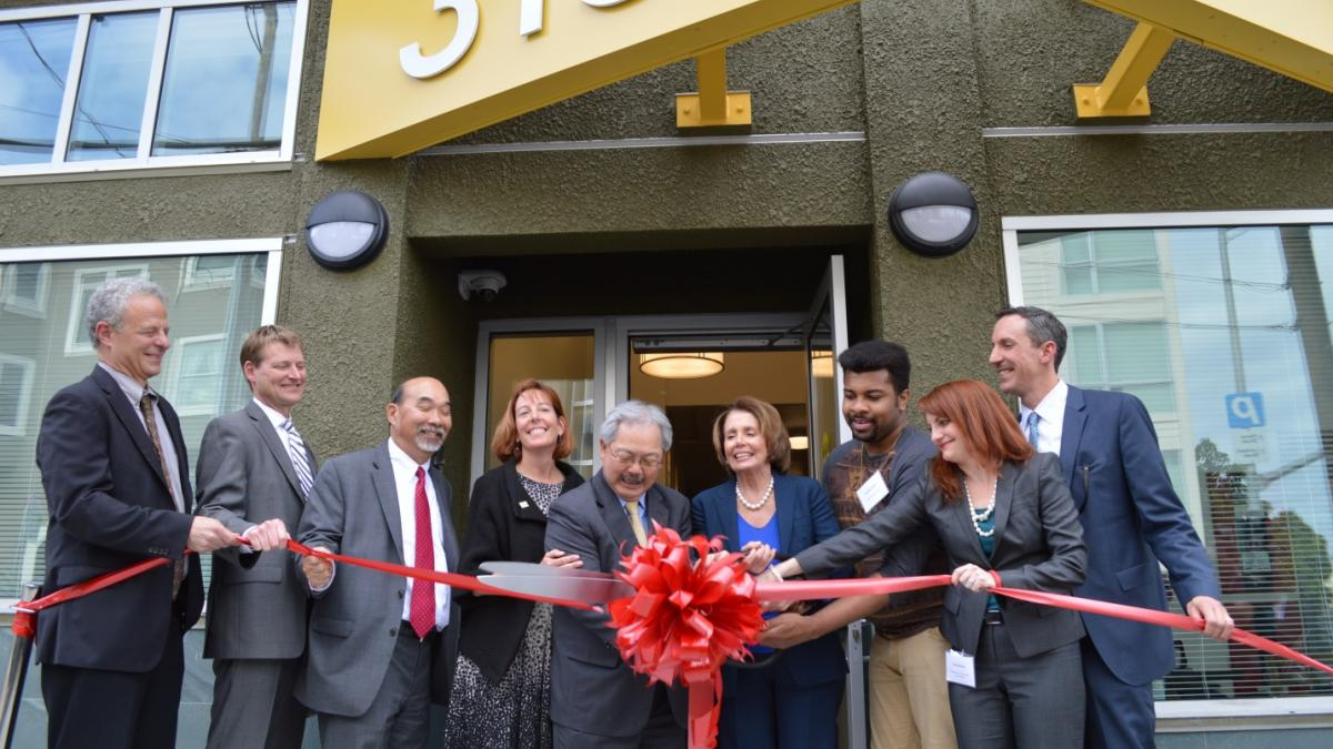 Congresswoman Pelosi joins with Mayor Edwin Lee, Community Housing Partnership and Larkin Street Youth Services for the grand opening of Edward II in the Marina District, a historic inn rehabilitated into supportive housing for youth at risk of homelessne