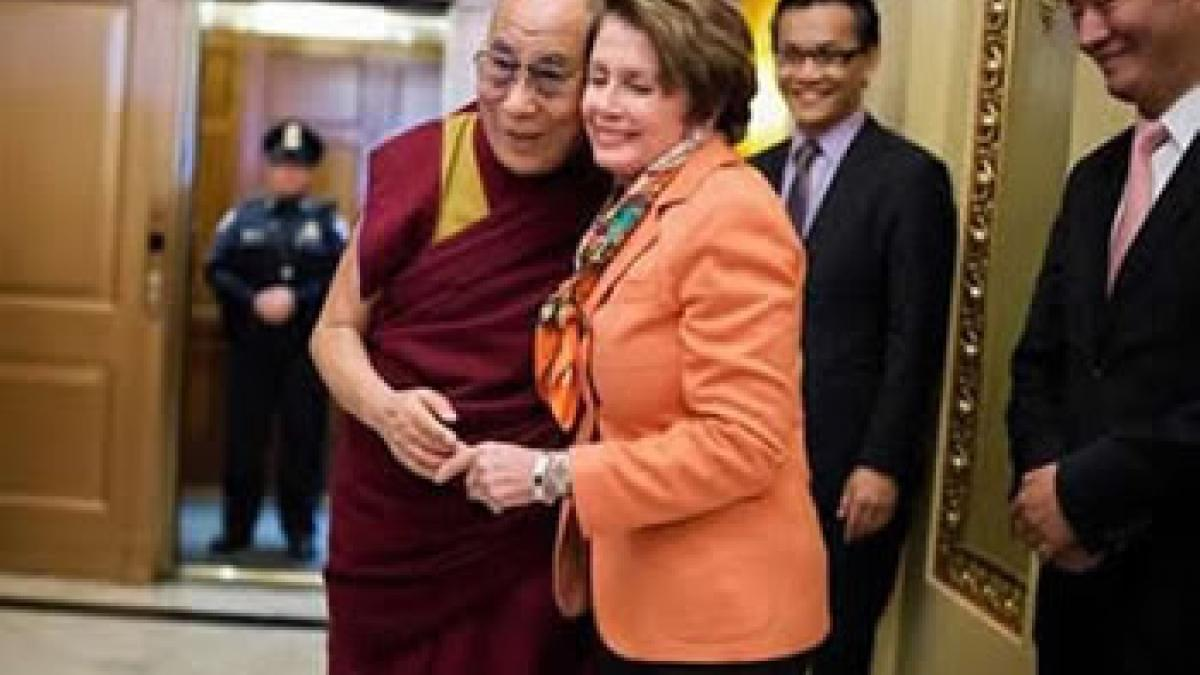 Congresswoman Nancy Pelosi joins with His Holiness the Dalai Lama during his visit to Congress to celebrate his role as a compassionate religious leader, an astute diplomat, and an undaunted believer in the power of nonviolence for the Tibetan people
