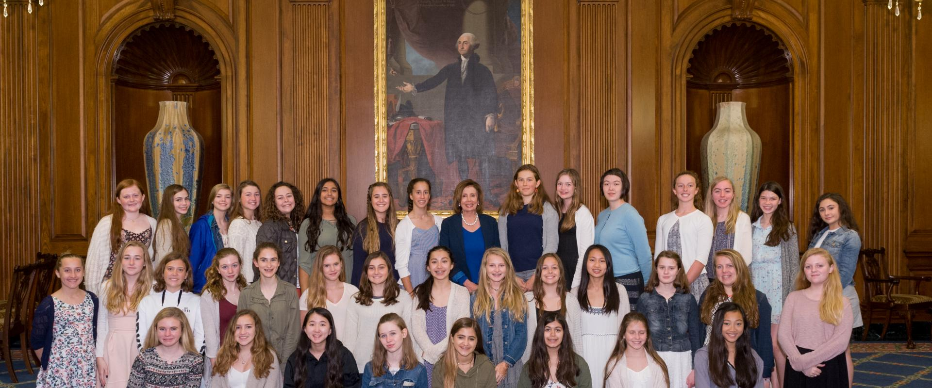 Congresswoman Nancy Pelosi meets with 8th grade students from Convent of the Sacred Heart Elementary School. Pelosi's four daughters are Sacred Heart alumnae.