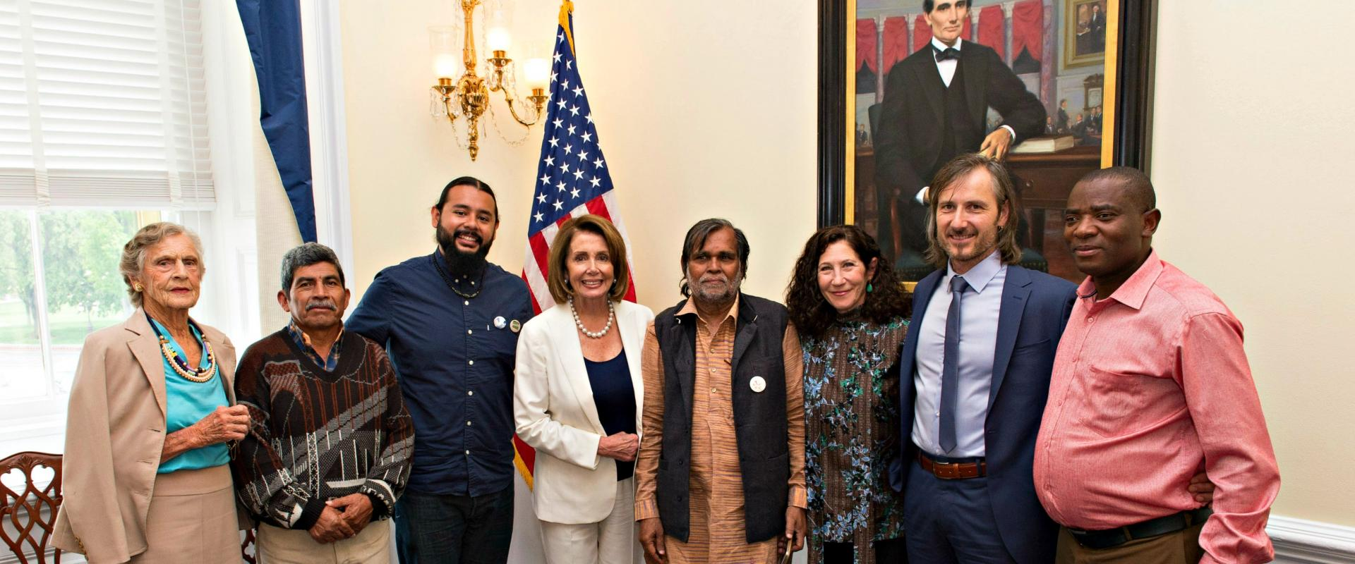 Congresswoman Pelosi meets with Susie Gelman and the 2017 winners of Goldman Environmental Prize, honoring grassroot environmental heroes who have contributed sustained and significant efforts to protect their communities and enhance the natural environme