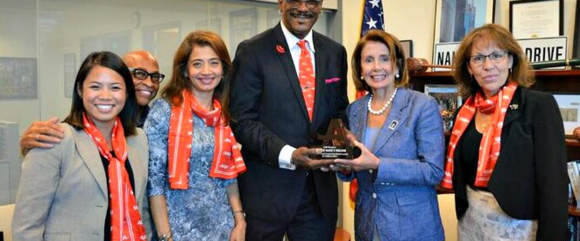 Congresswoman Pelosi met with staff and volunteers from AARP in San Francisco as they celebrated the 81st anniversary of Social Security. During the meeting, Pelosi was honored by AARP with the Congressional Legislative Award.