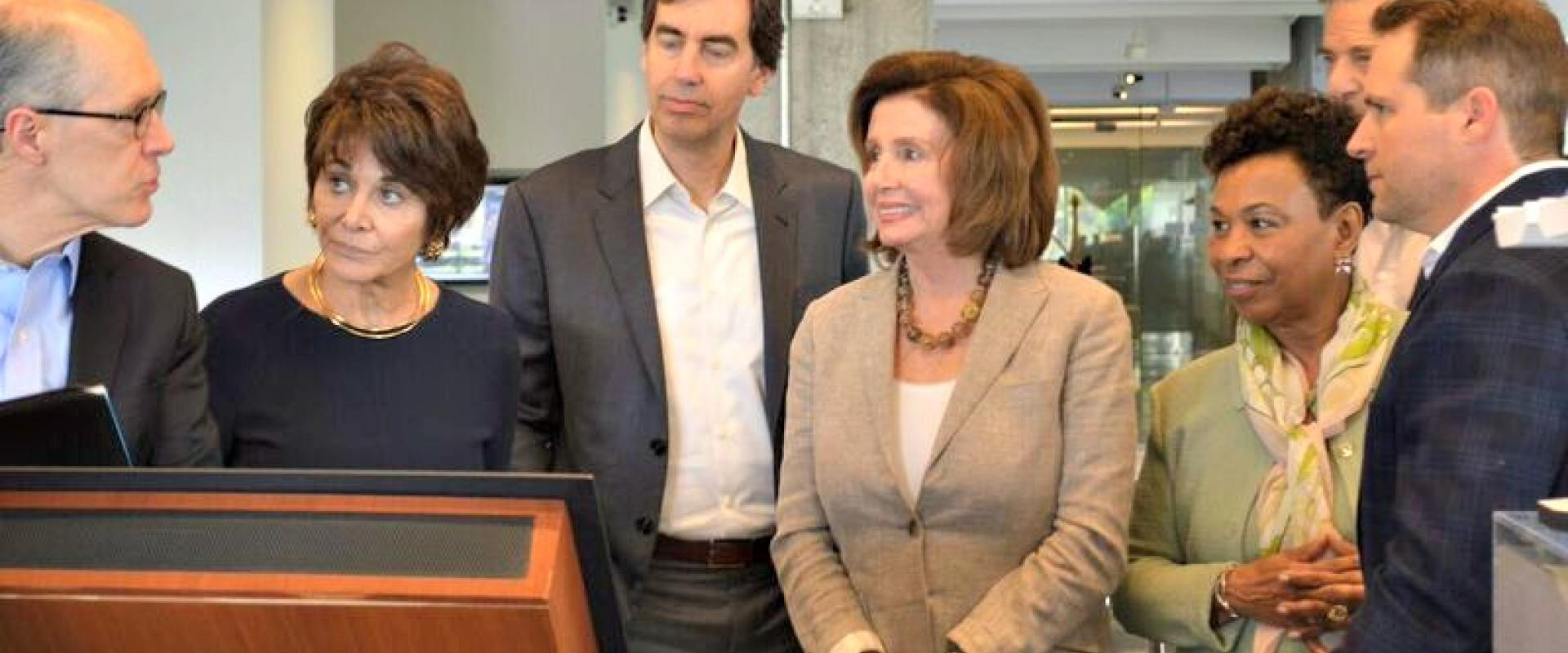 Congresswomen Nancy Pelosi, Anna Eshoo, and Barbara Lee tour the Autodesk Gallery after hosting an Innovation Agenda 2.0 Listening Session, where top technology, education, and creative leaders in San Francisco discussed the ingredients America needs to r