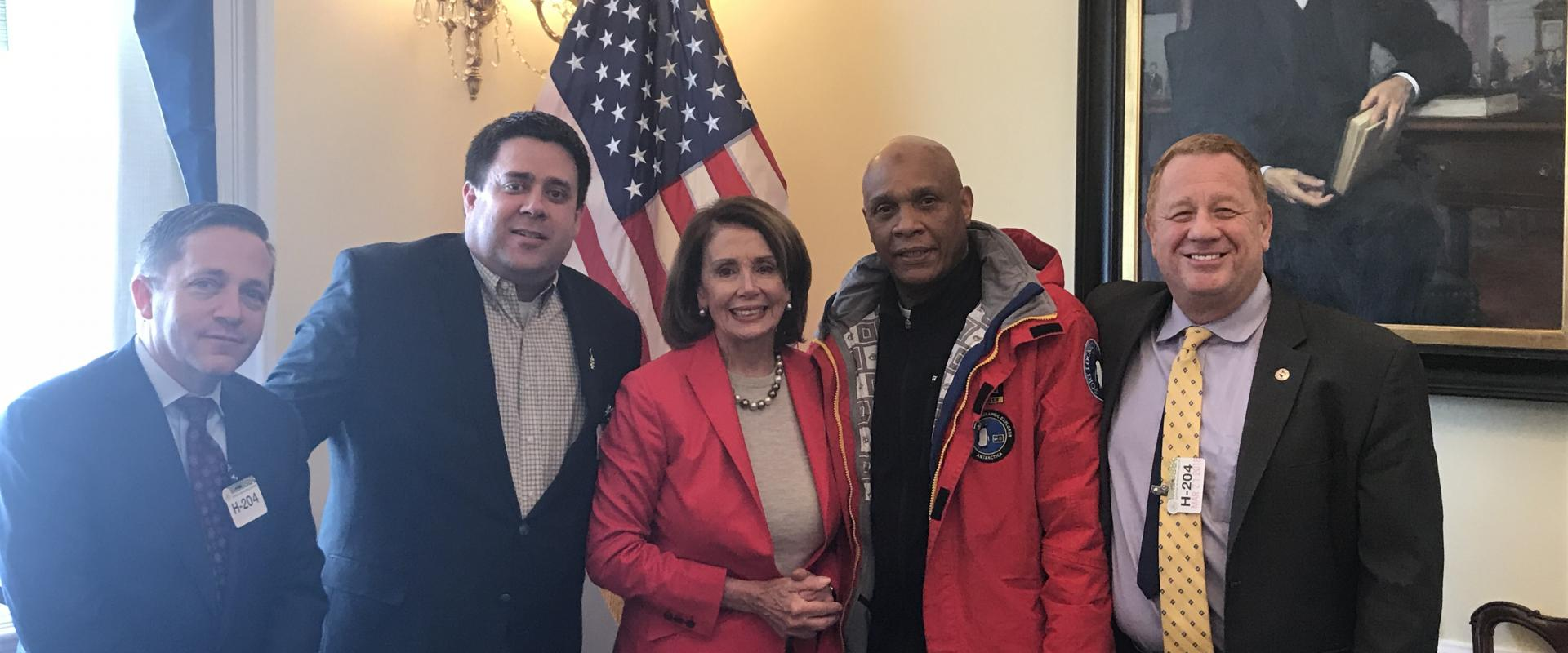 Congresswoman Pelosi joins San Franciscan Willie Adams, Secretary-Treasurer of the International Longshore & Warehouse Union (ILWU), and ILWU leaders to discuss ensuring fair wages and a fair process for the National Park Service Alcatraz concession, refo