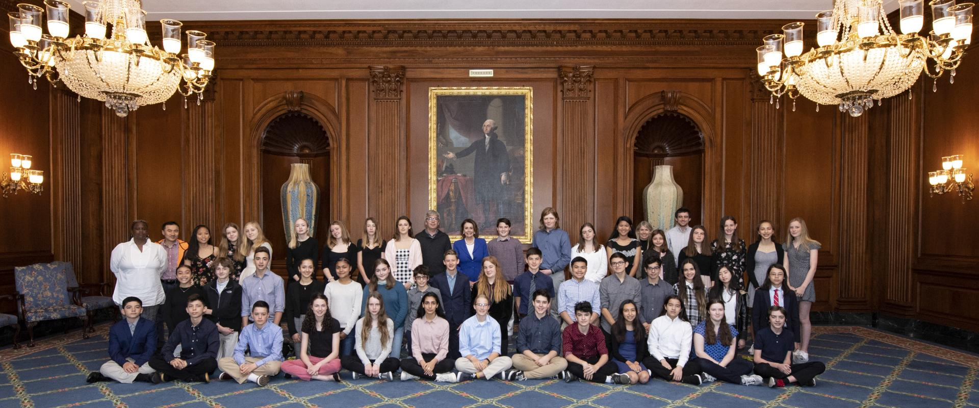 Congresswoman Pelosi meets with 8th grade students from Children's Day School in San Francisco where they discussed gun violence prevention during their visit to Capitol Hill.