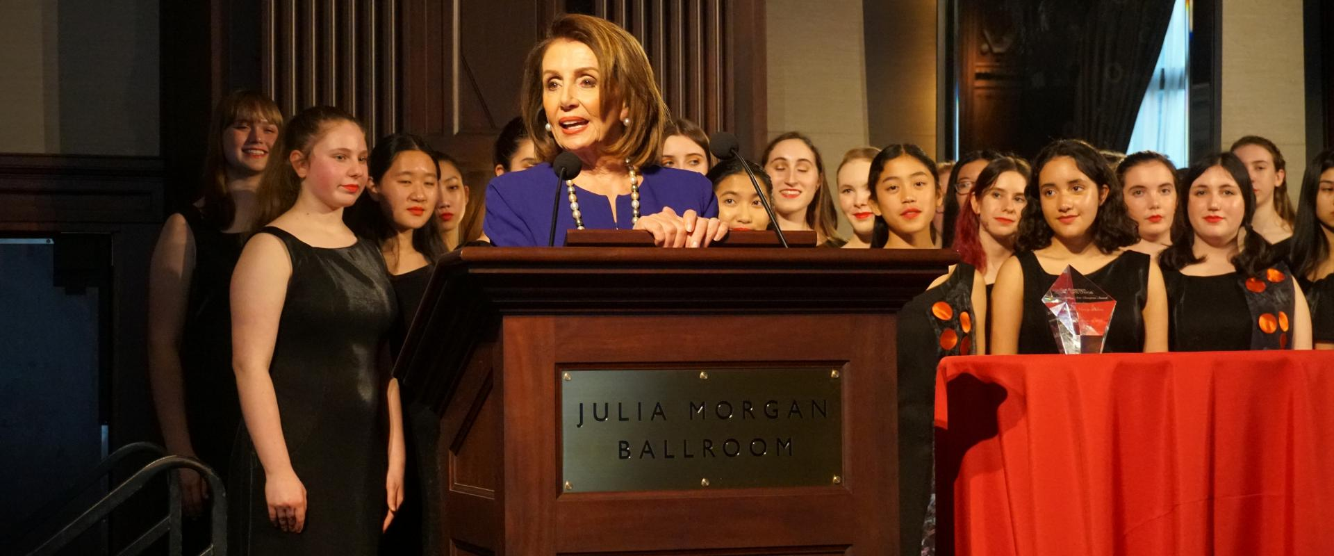 Congresswoman Pelosi was honored at the San Francisco Girls Chorus' 40th Anniversary Gala as the inaugural recipient of the Elizabeth Appling Arts Champion Award, named for the Girls Chorus founder. We must continue to champion music and the arts, as it e