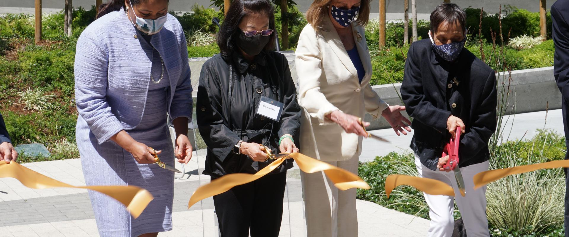 Congresswoman Nancy Pelosi joins Anita Lee, widow of Ed Lee, Mayor London Breed and resident Margie Talavera at the grand opening ceremony of the Edwin M. Lee apartments, named in honor of our late Mayor whose strong leadership created thousands of units