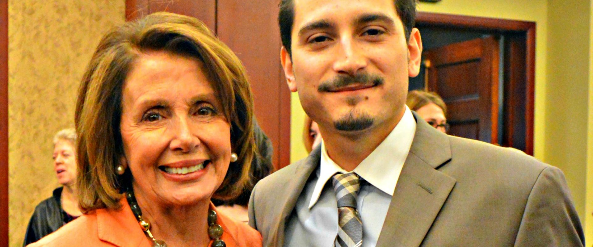 """Congresswoman Pelosi thanks her witness, San Franciscan Maverick Bishop, for his courageous testimony on overcoming adversity and severe economic barriers at a hearing on """"The Failure of Trickle Down Economics in the War on Poverty."""""""