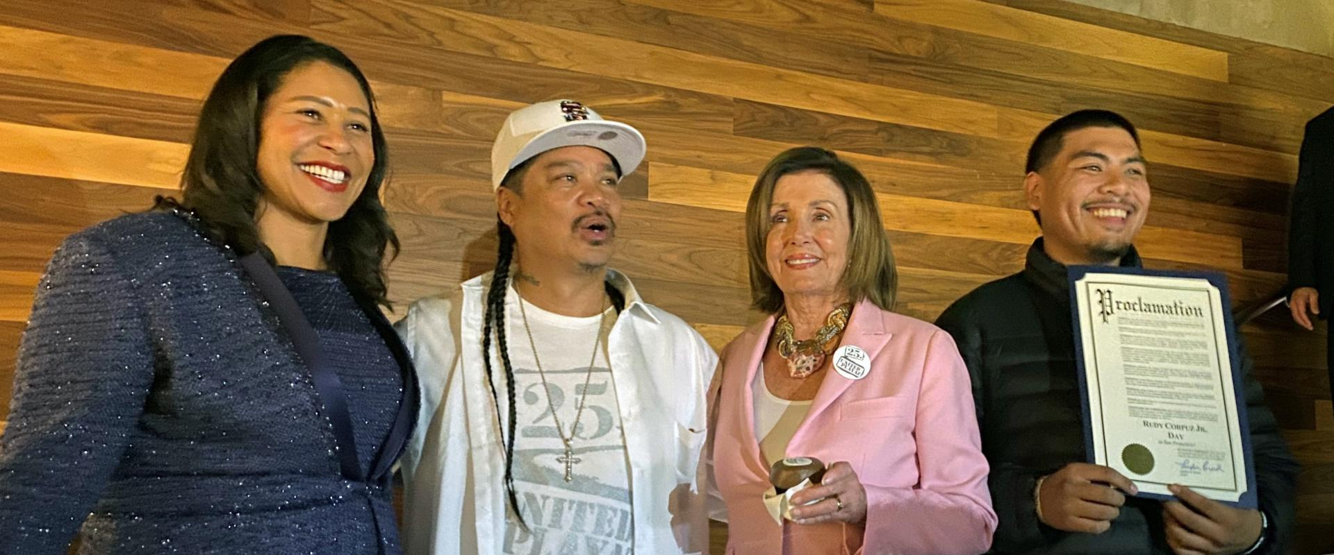 Congresswoman Nancy Pelosi joined Mayor London Breed and Rudy Corpuz, Jr., founder of United Playaz, to celebrate 25 years of gun violence prevention advocacy, and providing a safe-haven of services and resources to the community.