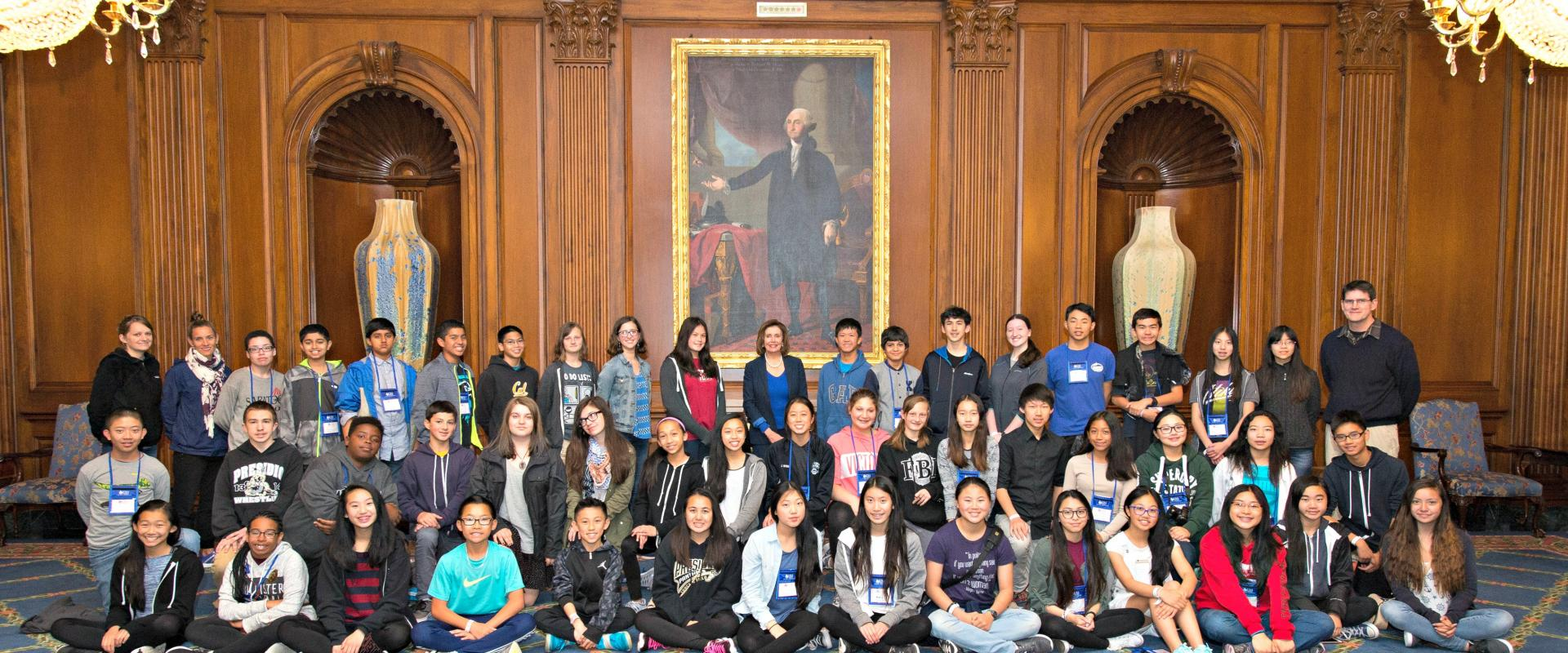 Congresswoman Nancy Pelosi meets with 8th grade students from Presidio Middle School in San Francisco, discussing climate change, education policy and Steph Curry.