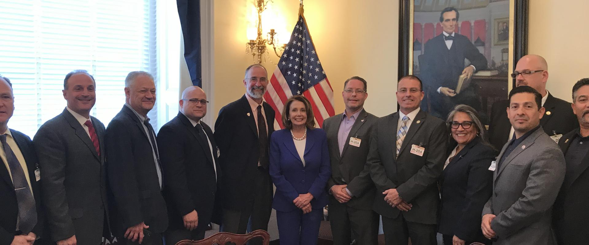 Congresswoman Pelosi meets with representatives of the San Francisco Building & Construction Trades Council where they discussed a Better Deal for Rebuilding America and she congratulated Secretary-Treasurer Michael Theriault on his upcoming retirement.