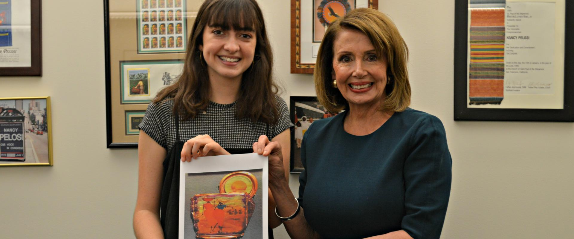 Congresswoman Pelosi congratulates Sofia Riley, a graduate of Saints Peter & Paul School, on winning the 2017 Congressional Art Competition for California's 12th Congressional District. Sophia's art piece Women at Work will hang in the U.S. Capitol in the