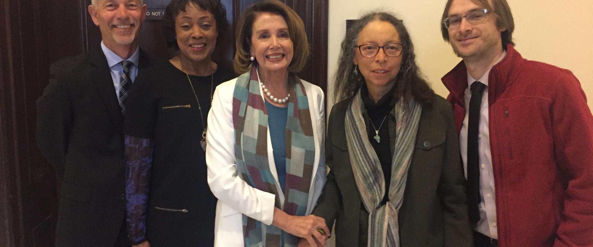 Congresswoman Nancy Pelosi meets with supporters of the arts from San Francisco and around the nation. While President's Trumps budget would eliminate the National Endowment for the Arts, Pelosi is fighting to preserve the NEA, as exposure to the arts hel