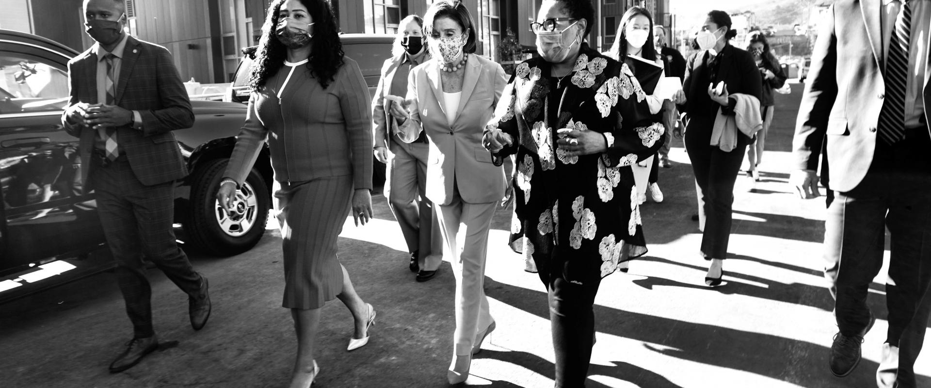 Congresswoman Nancy Pelosi joins Mayor London Breed and her former colleague and now HUD Secretary Marcia Fudge at the Sunnydale HOPE SF rebuild and community development site to discuss amplify the urgently needed housing investments in the Build Back Be