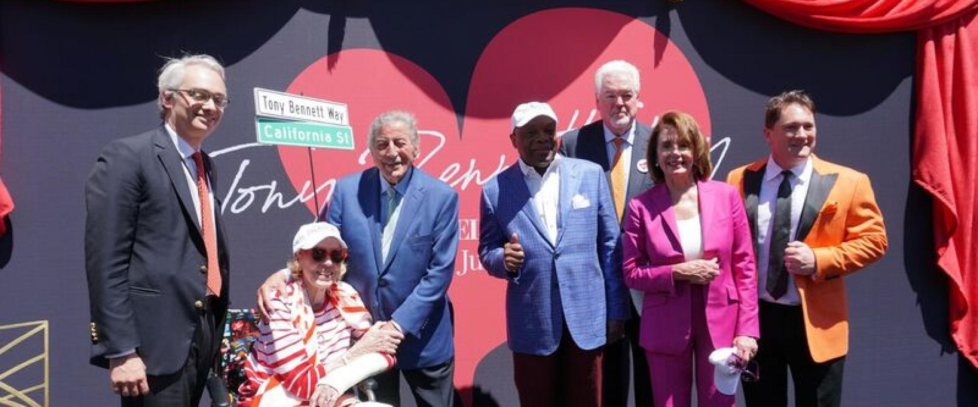 """Congresswoman Pelosi joins fellow San Franciscans to celebrate the unveiling of """"Tony Bennett Way"""" in front of the Fairmont Hotel in San Francisco."""