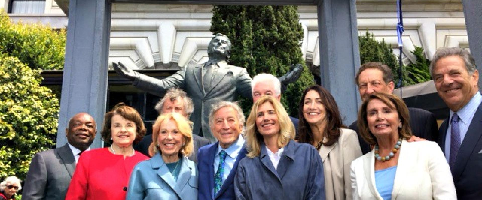 Congresswoman Pelosi along with Senator Feinstein and civic leaders join legendary entertainer Tony Bennett on his 90th birthday at the dedication of a statue commemorating Bennett's contributions to San Francisco outside the Fairmont Hotel.