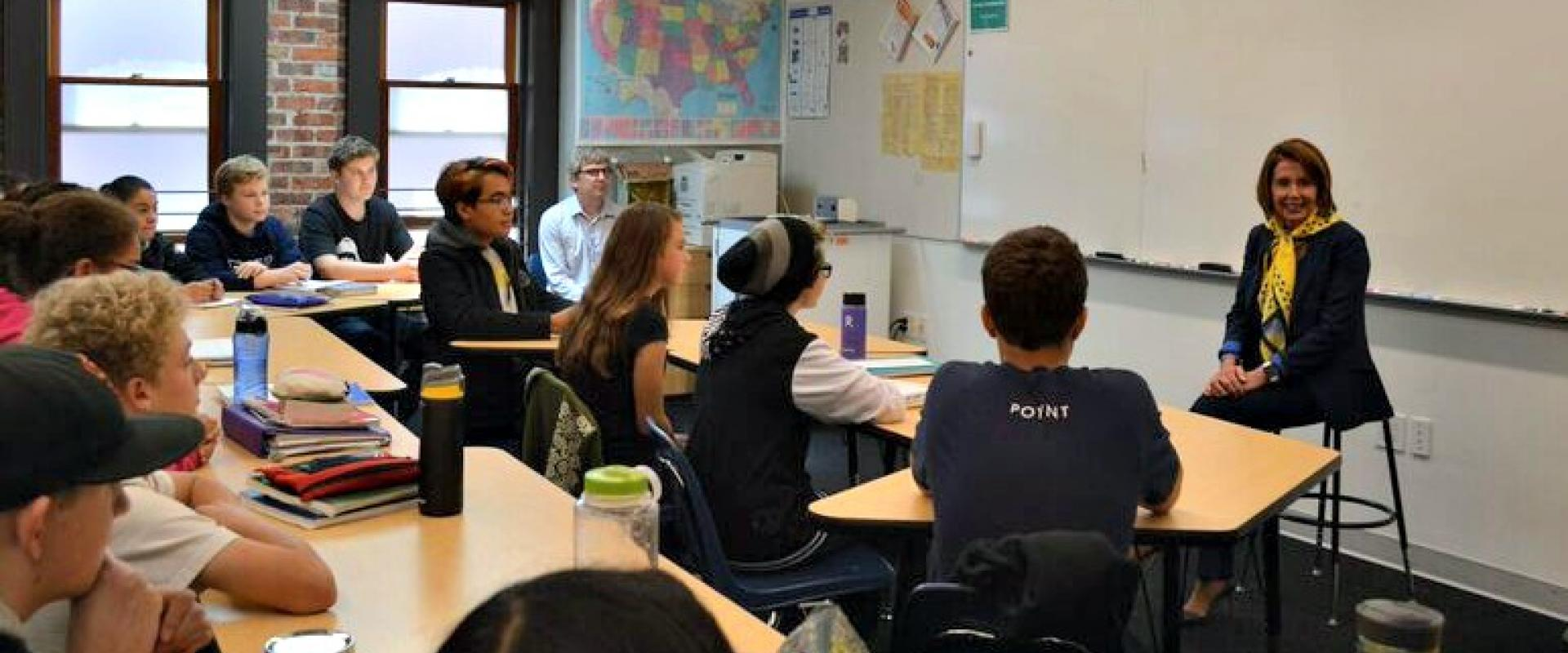 Congresswoman Pelosi discusses gun violence prevention, criminal justice reform, and promoting democracy with 8th grade students from Children's Day School in the Mission, where she was honored with the Congresswoman Nancy Pelosi Classroom.