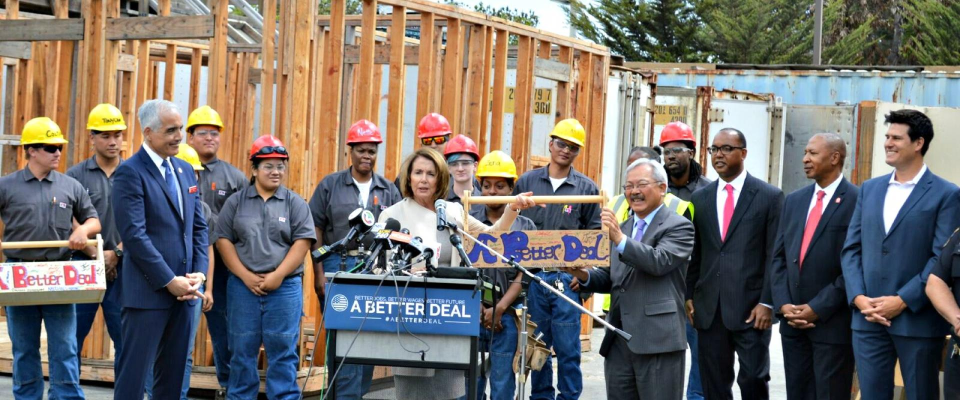"Congresswoman Pelosi, Mayor Edwin Lee and Chancellor Mark Rocha meet with trainees and graduates at CityBuild Academy at City College of San Francisco as the City leads the way with ""A Better Deal"" for thousands of local workers who receive job training,"