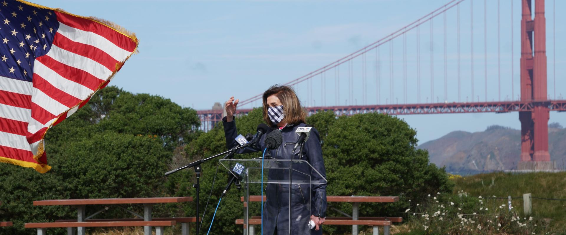 Congresswoman Nancy Pelosi speaks at the 20th Anniversary celebration of the revitalization of Crissy Field in the Presidio. The restoration of Crissy Field stands as a testament to this powerful partnership among governments, philanthropists including th