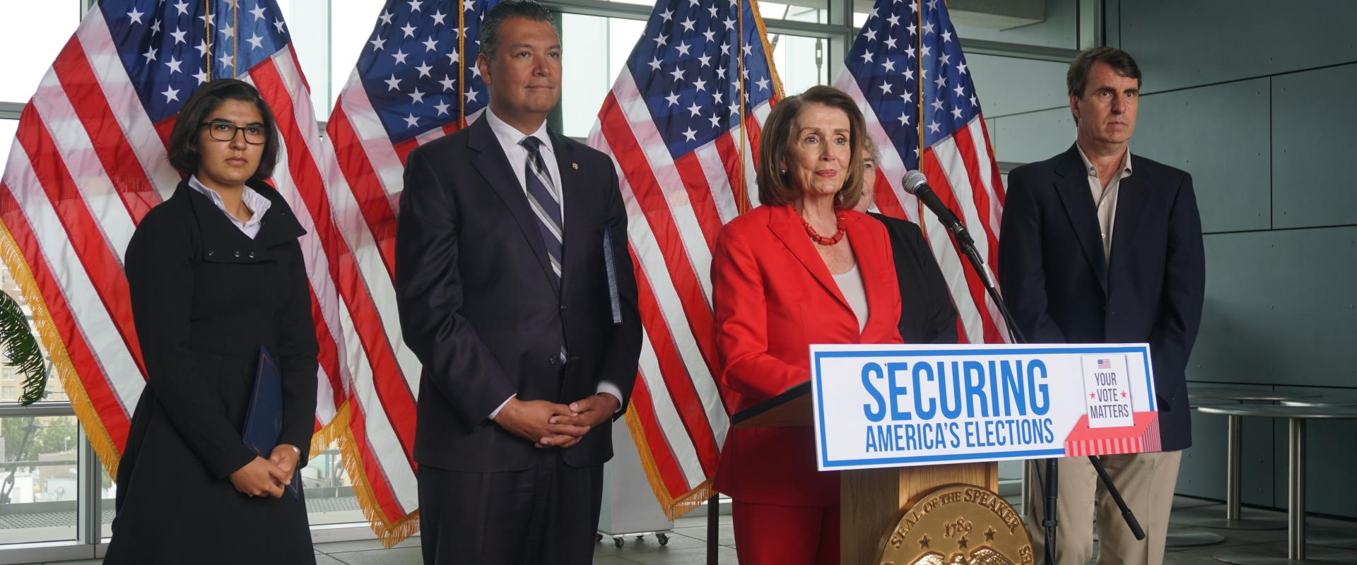 Congresswomen Nancy Pelosi and  Zoe Lofgren, California Secretary of State Alex Padilla, and election security advocates hold a press conference at the San Francisco Federal Building stressing the importance of secure and safe elections; highlighting Cong