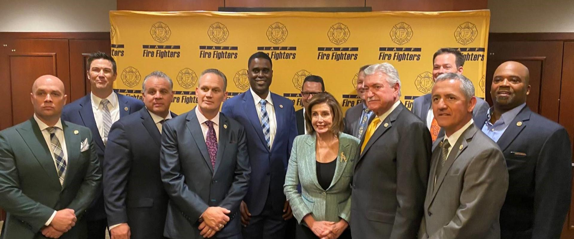 Congresswoman Nancy Pelosi joined International Association of Firefighters President Harold Schaitberger and the leaders of San Francisco Firefighters Local 798 during the IAFF Legislative Conference held in Washington, D.C.