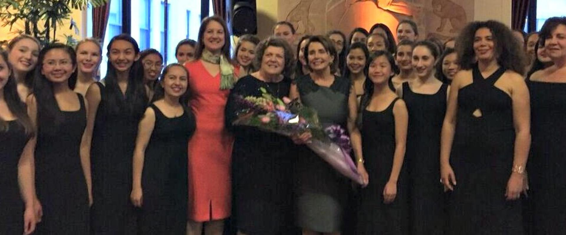 "Congresswoman Pelosi joins the San Francisco Girls Chorus at their 37th Season ""Celebrating Strong Women's Voices"" Gala where she discussed arts as a vital part of our national life, and arts education as a key part of our children's development."