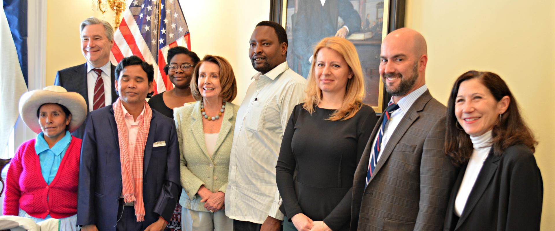 Congresswoman Nancy Pelosi meets with this year's Goldman Environmental Prize recipients – six courageous grassroots environmentalists from around the world who have made a profound impact in their communities and throughout the world by fighting for envi