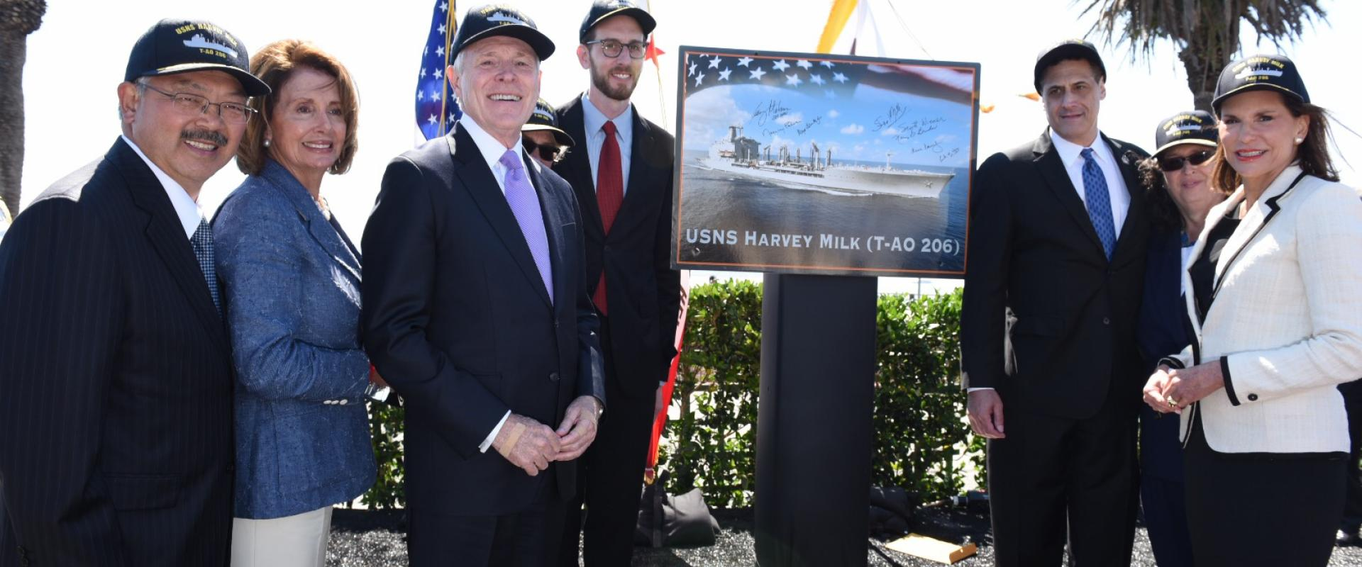 Congresswoman Pelosi joins Secretary of the Navy Ray Mabus at the naming ceremony of a Military Sealift Command fleet oiler in honor of former San Francisco Supervisor, civil rights champion and Navy veteran Harvey Milk – the first Navy ship named in hono