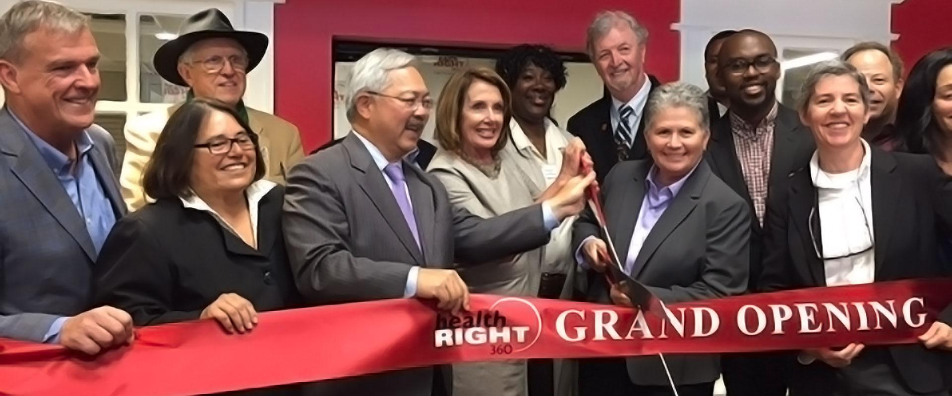Congresswoman Pelosi, Mayor Ed Lee, CEO Dr. Vitka Eisen, community and business leaders celebrate the opening of HealthRIGHT 360 in SoMA, the first medical center in California to offer integrated care, comprehensive medical and social services, mental he