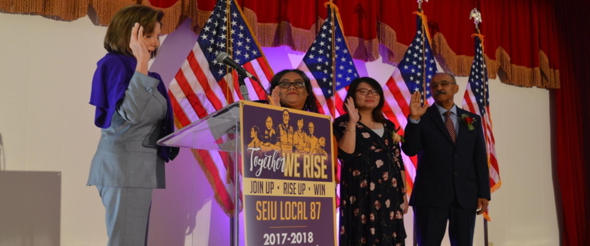 Congresswoman Pelosi administered the oath of office to local labor leaders at SEIU Local 87's Swearing In Ceremony. This year's Executive Board elected its first woman president, first Chinese-American Secretary-Treasurer, and first Muslim-American woman