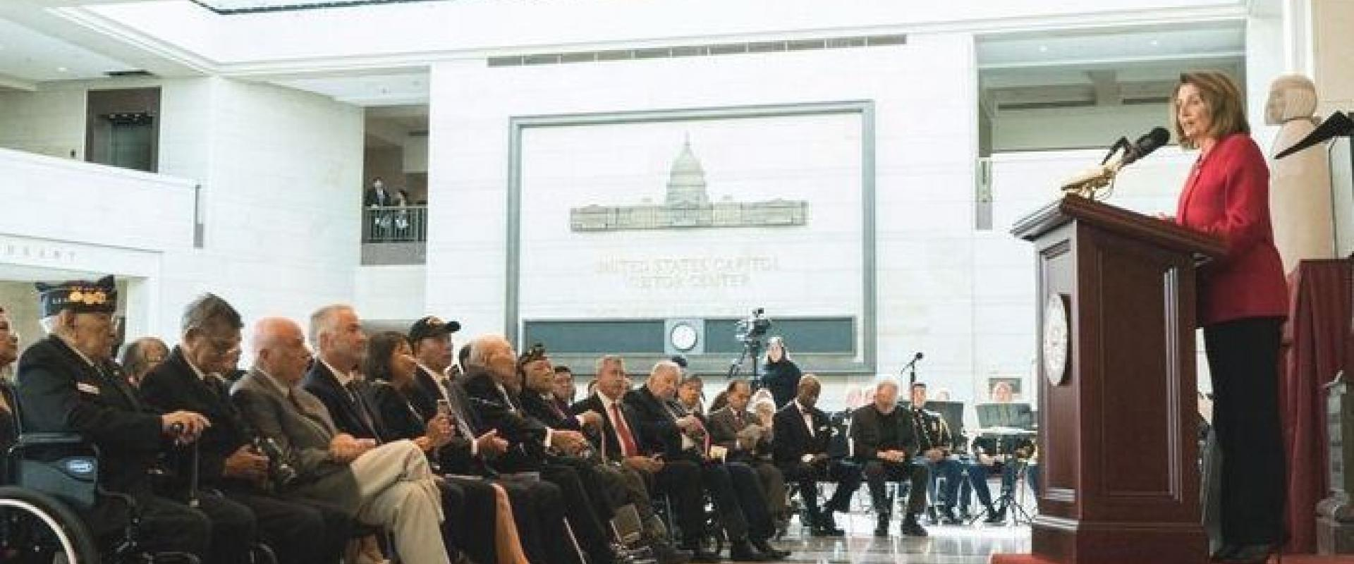 Congresswoman Pelosi delivers remarks at the Congressional Gold Medal Ceremony honoring Filipino Veterans for their service and contributions made serving in World War II, including San Franciscan Dean Aquilino Delen, a Filipino veteran who attended repre