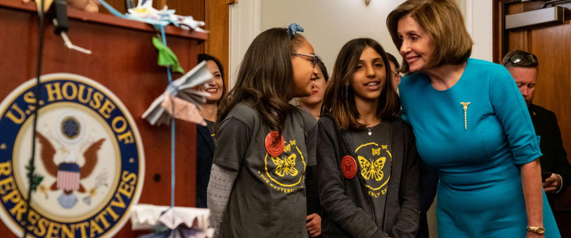 Congresswoman Nancy Pelosi joins Bay Area children from The Butterfly Effect who have folded tens of thousands of origami butterflies in their advocacy on behalf of immigrant children at the border.