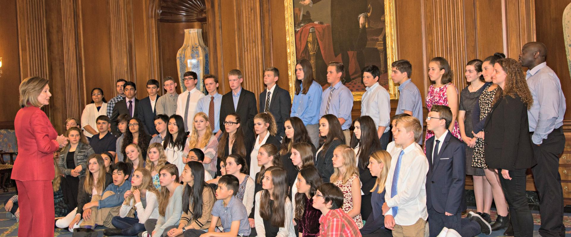 Congresswoman Nancy Pelosi meets with eighth-graders from the Live Oak School in Potrero Hill. During their visit to Capitol Hill, the students educated the Congress about their class project on gun violence prevention.