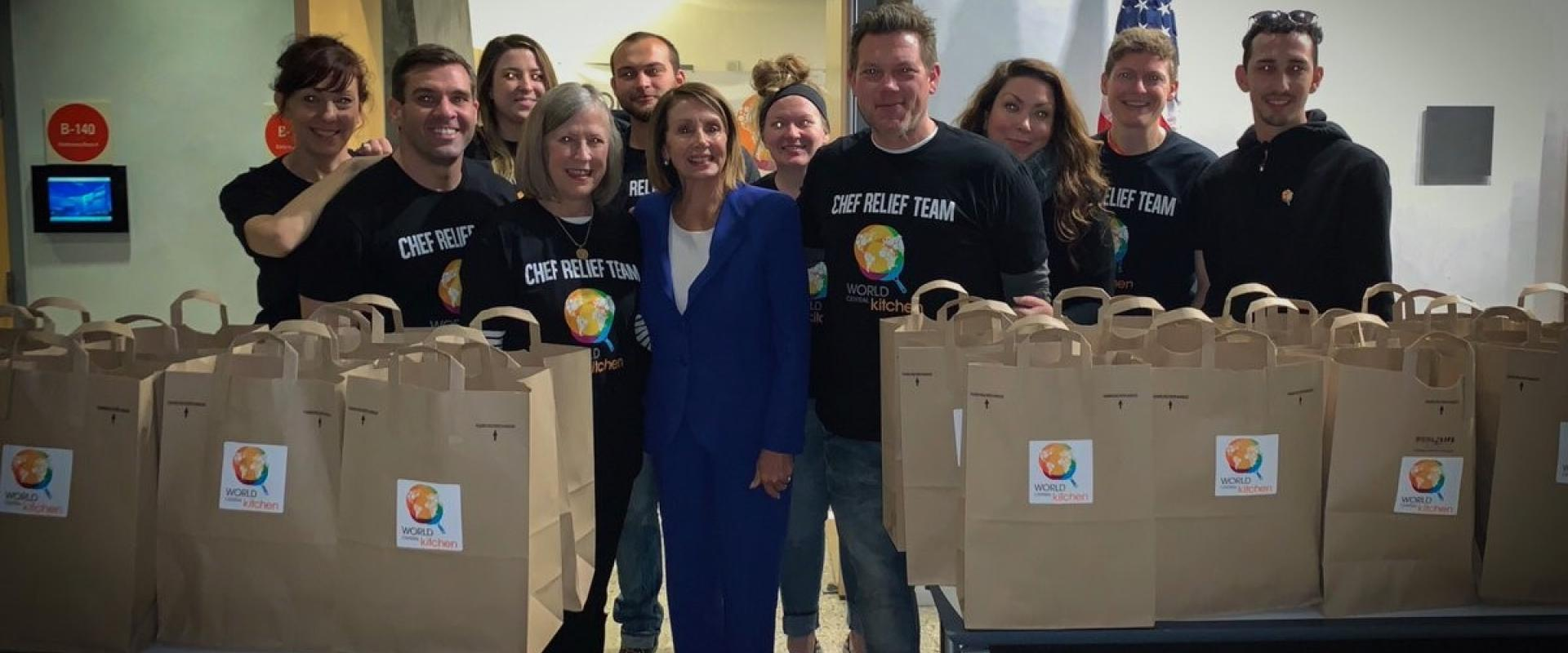 Congresswoman Pelosi joins Tyler Florence, host of Food Network shows, and Chefs for Feds team volunteers at the World Central Kitchen operation serving meals to 11,000 Bay Area furloughed federal workers affected by the Trump Shutdown.