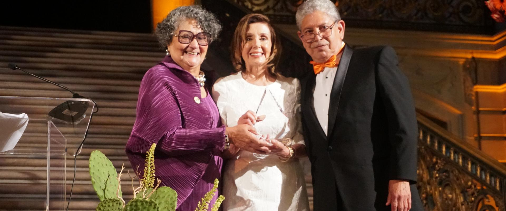 Congresswoman Pelosi received the Mission Neighborhood Center's 2019 Legacy Award from Sam Ruiz and Beverly Hayon during their 60th Anniversary Gala at San Francisco City Hall, celebrating the organization's legacy and looking to the future.