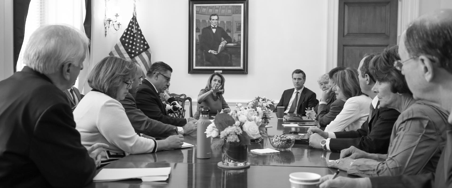 Congresswoman Pelosi and the California Democratic Congressional Delegation meets with Lieutenant Governor Gavin Newsom to discuss how the state and federal government can work together on issues affecting communities statewide.