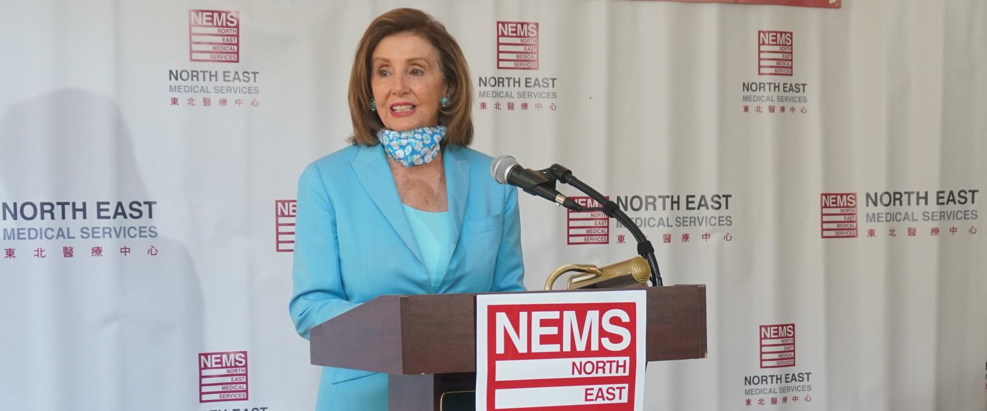 Congresswoman Nancy Pelosi joined Public Health Director Dr. Grant Colfax and Dr. Kenneth Tai of North East Medical Services (NEMS) at the NEMS PACE Clinic in Chinatown to highlight the life-saving resources contained in President Biden's American Rescue