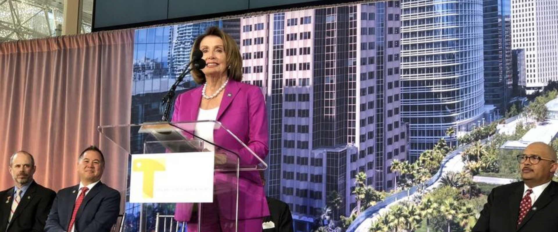 Congresswoman Pelosi joins Mayors London Breed and Willie Brown at the opening of the Salesforce Transit Center, the Bay Area's new 21st Century Transit Hub. At the ribbon cutting, Pelosi thanked the Bay Area community, Building Trades workers, architects