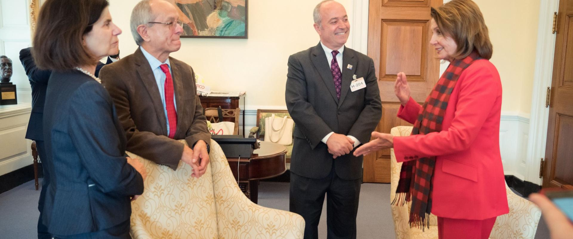 Congresswoman Pelosi meets with Dr. Leslie Wong, President of San Francisco State University, and his wife Phyllis where they discussed support for robust investments in Pell Grants.