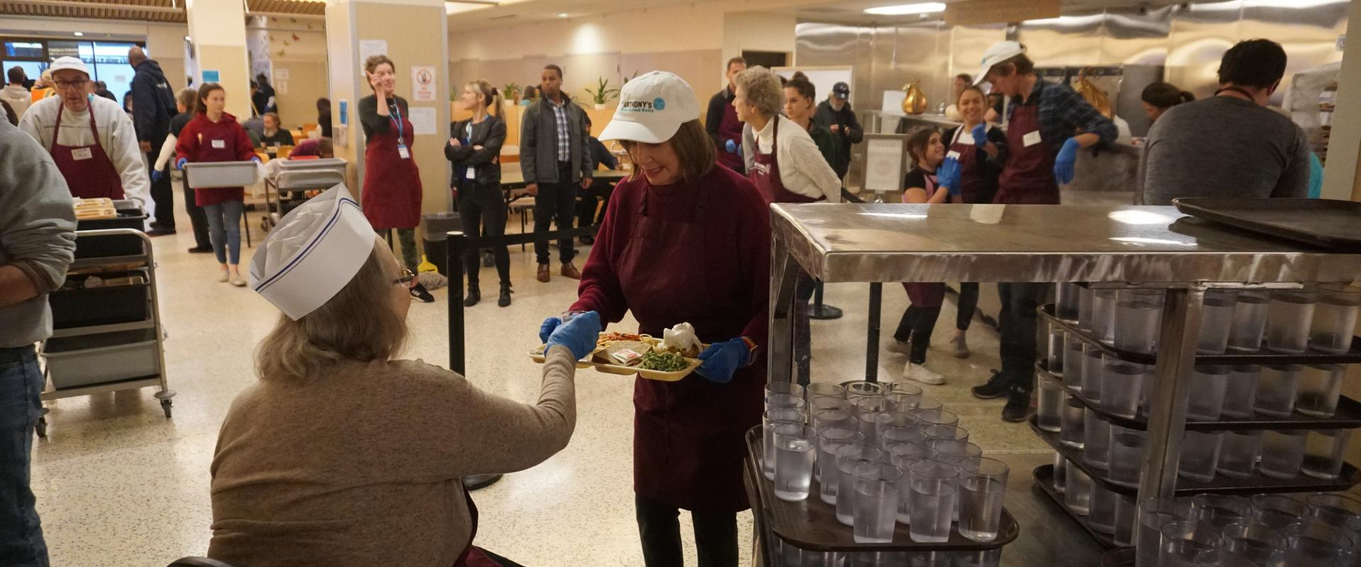 Congresswoman Pelosi joins her family in their annual tradition volunteering at St. Anthony's Dining Room in the Tenderloin to serve meals to our community during the Thanksgiving holiday.