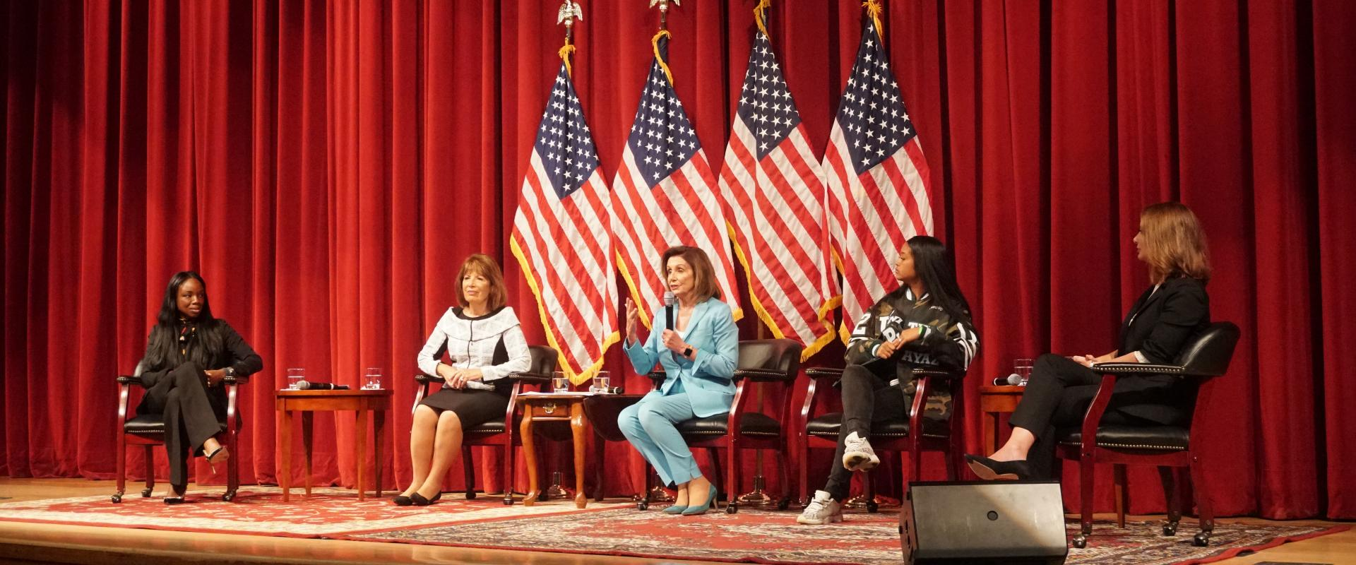 Congresswomen Nancy Pelosi and Jackie Speier hold a community town hall meeting on gun violence prevention and the For The People agenda at Abraham Lincoln High School. At the meeting they discussed the need for strong bipartisan, common sense gun violenc