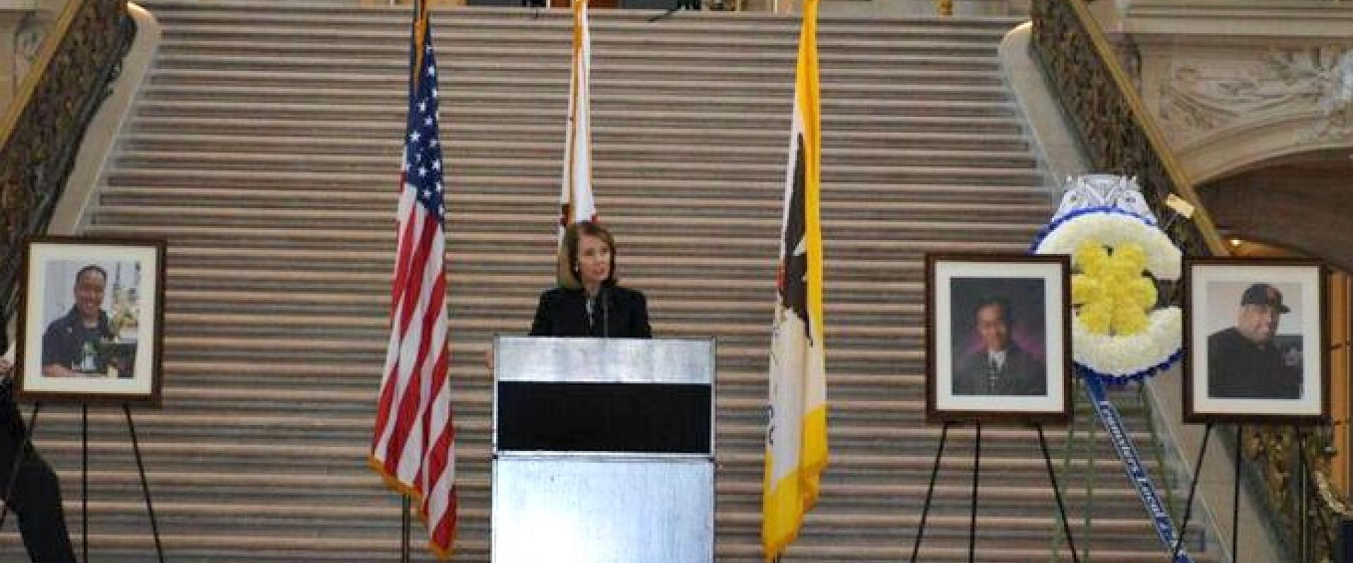 Congresswoman Pelosi pays tribute to the slain UPS drivers and those wounded at a memorial service held by the Teamster's at City Hall; honoring the lives Wayne Chan, Michael Lefiti and Benson Louie, killed during an act of gun violence.