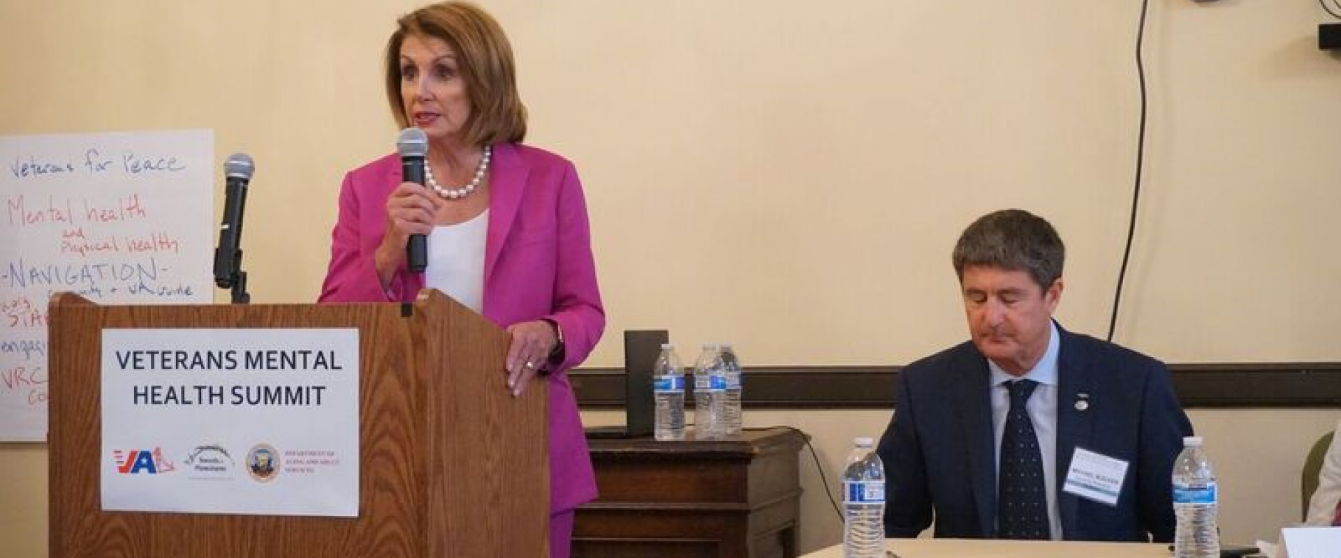 Congresswoman Pelosi joins the 6th Annual Veterans Mental Health Summit with Swords to Plowshare Executive Director Michael Blecker, Ft. Miley leadership, local veterans, and veterans service organizations in the Veterans War Memorial Building to discuss