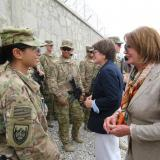 Congresswomen Nancy Pelosi and Anna Eshoo greet U.S. Soldiers with the 3rd Cavalry Regiment from California during a visit to Tactical Base in Gamberi, Afghanistan.