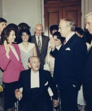 Nancy Pelosi is joined by her father, Thomas D'Alesandro, Jr., and family as she is sworn into office for the first time in 1987.