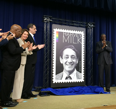 Congresswoman Nancy Pelosi attends the ceremony commemorating the Harvey Milk Forever Stamp's first day of issue and honors the life and legacy of Harvey Milk, a San Francisco hero who dedicated his life to the fundamental American value of equality.