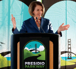 Congresswoman Pelosi attends the groundbreaking ceremony for the Presidio Parkway in October 2009