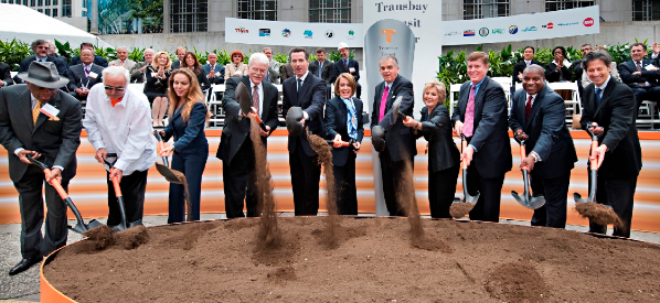 Nancy Pelosi at the groundbreaking for the new Transbay Transit Center in August 2010